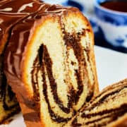 View of a marble cake made with tahini.