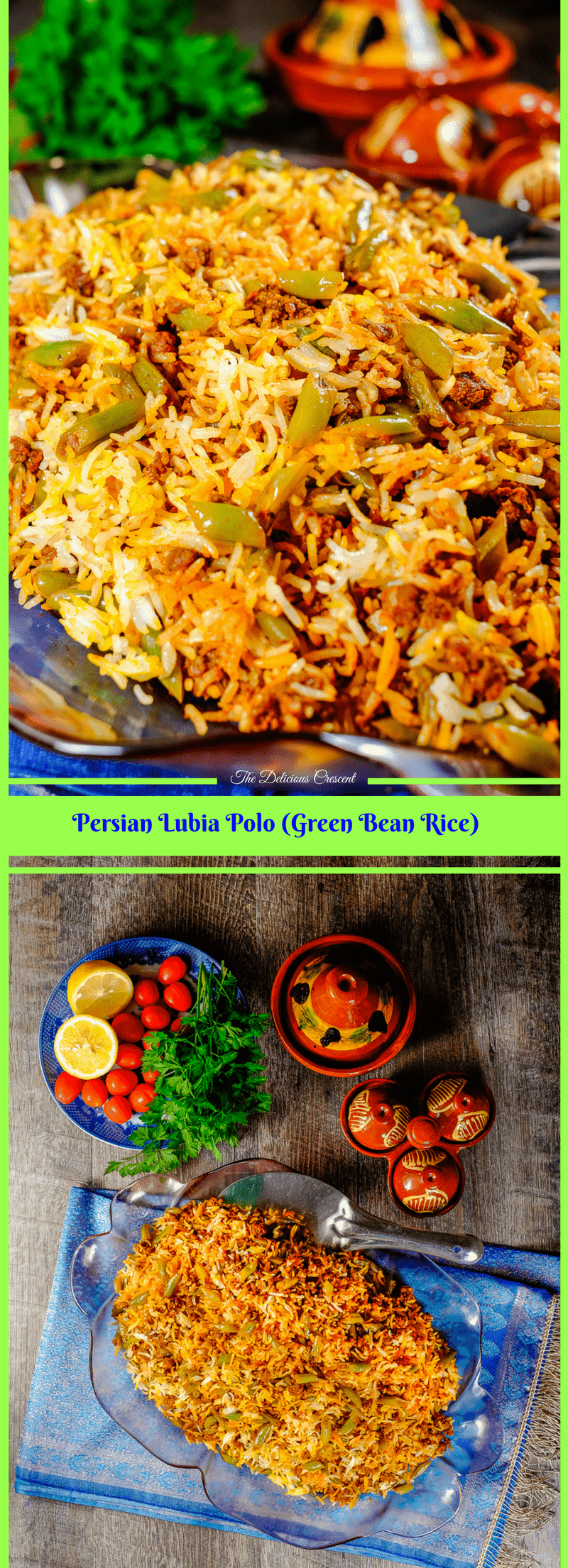 Persian Lubia Polo – a green bean rice, is a complete meal with an amazing taste, so quick and easy to prepare, with good protein, fiber and complex carbohydrates. It is a rice dish layered with green beans, spiced ground meat, tomatoes, herbs, lemon and infused with saffron.