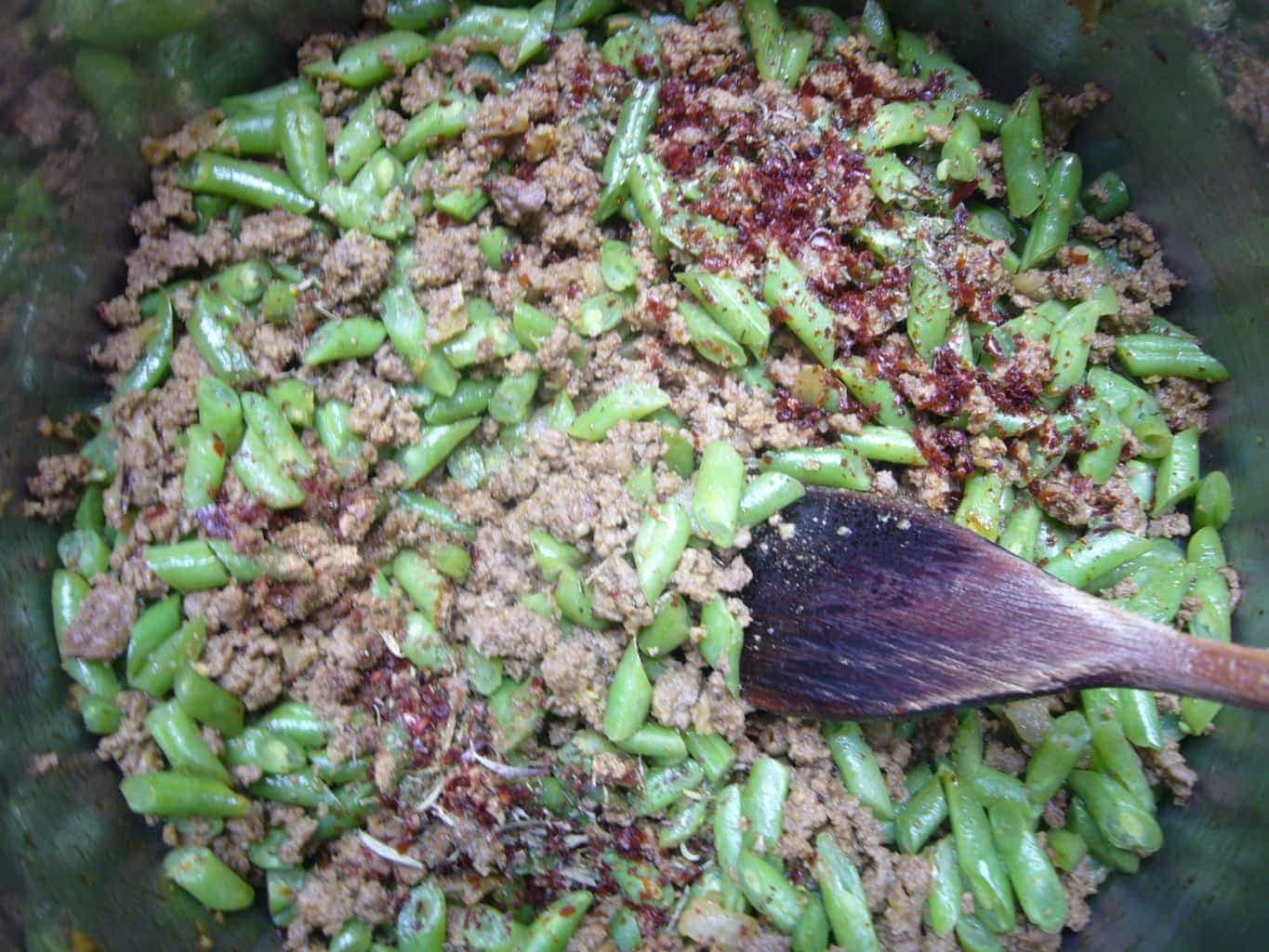 Green beans good with ground meat and spices to make green bean rice.
