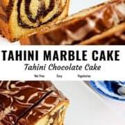 Tahini marble cake pin image.