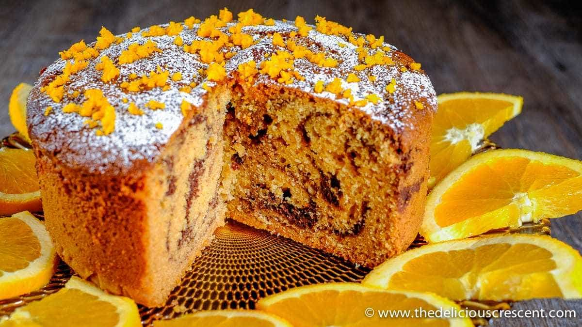 Tahini Orange Chocolate Marble Cake after it has been sliced