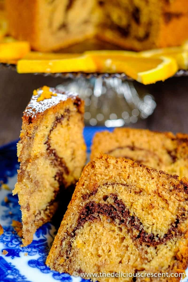 """Tahini Orange Chocolate Marble Cake – a moist scrumptious cake with a buttery tender crumb, but with """"no"""" butter and only a fraction of saturated fat! If you are in the mood to experiment with some heart healthy deliciousness with a buttery feel, explore this unconventional cake and get ready to be delighted!"""