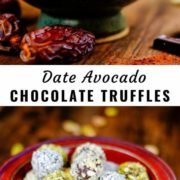 Different views of a bowl full of dark chocolate date avocado truffles.
