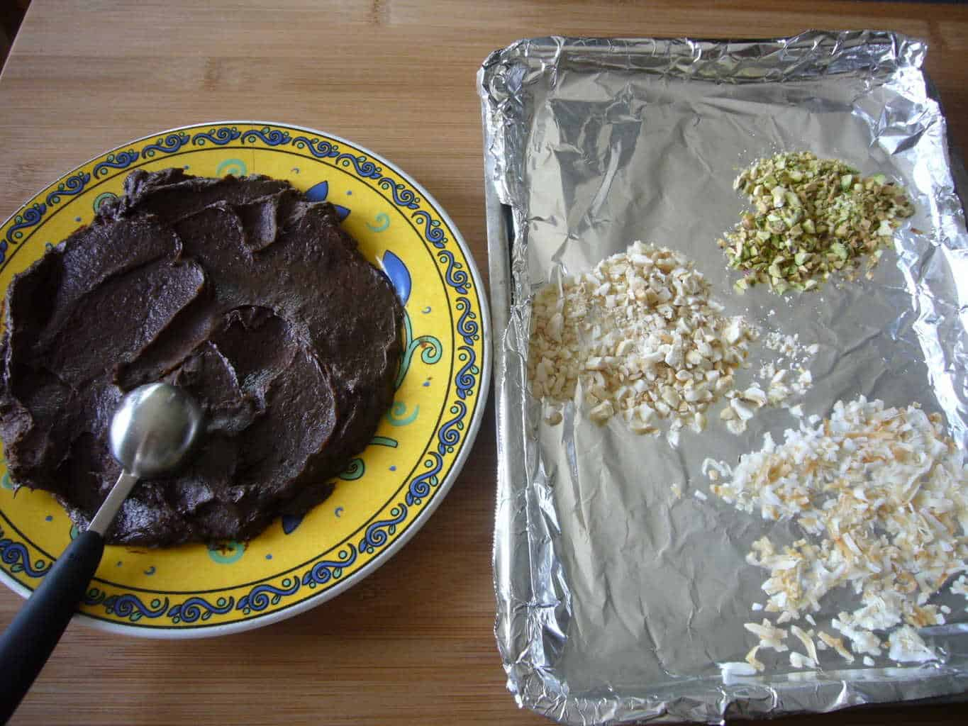 The truffle mixture and the toppings for avocado chocolate truffles