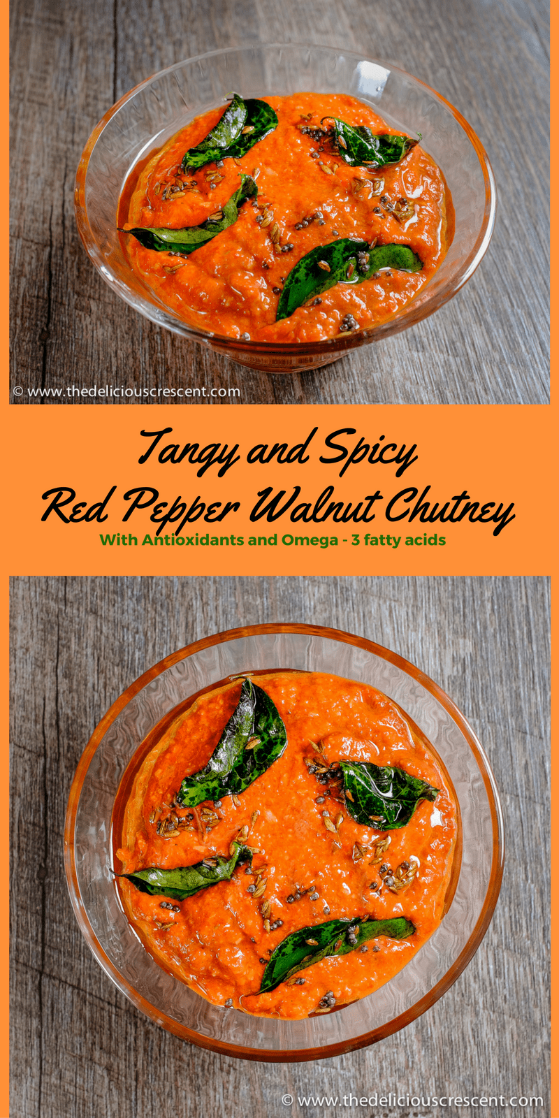 Delicious smoky red pepper chutney with walnuts, packed with antioxidants, omega-3 fats and phytochemicals. The sweet smoky roasted red bell peppers, tart lemon juice, earthy creaminess of walnuts and aromatic spices come together to give you this delectable chutney.