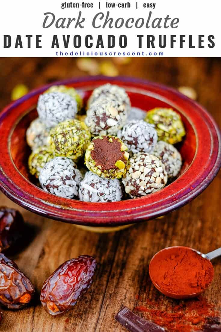 Dark chocolate date avocado truffles are a melt-in-your-mouth treat. These easy, healthy, low carb, gluten free homemade truffles are made without heavy cream or butter. They are sweetened with dates and have minimal added sugar and saturated fat. A great chocolate dessert snack for holidays! Vegan and dairy free options. #truffles #healthysnacks #chocolaterecipes