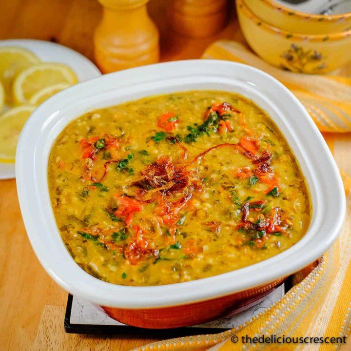 Khichda, a chicken rice porridge, served in a dish.