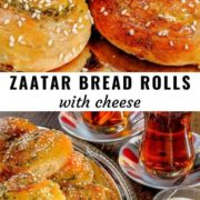 Different views of zaatar bread rolls stacked on a steel plate and served with tea.