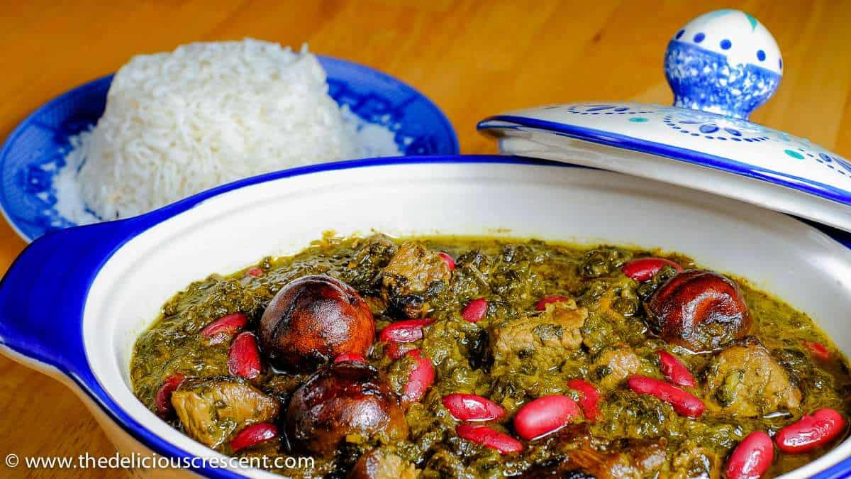 Ghormeh sabzi served with some rice.