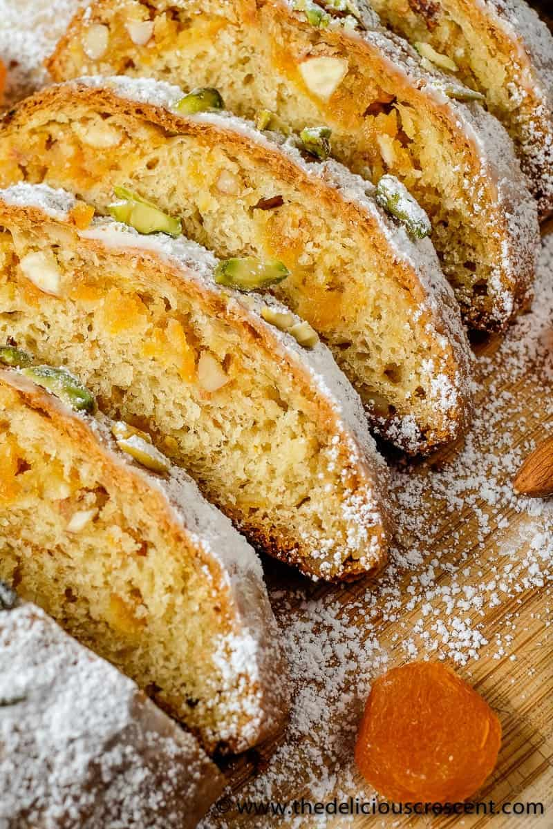 Apricot Almond Marzipan Stollen is an unconventional version of a classic German fruit bread with a special, rich and decadent filling!