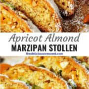 Different views of apricot almond marzipan stollen sliced and served on a plate.