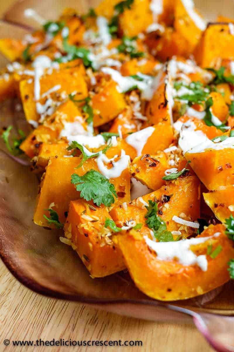 Coconut Cumin Ginger Roasted Butternut Squash - super easy, scrumptious, gluten free, perfectly tender, packed in Indian flavors and rich in nutrients. What a delicious and spicy way to warm up this winter!