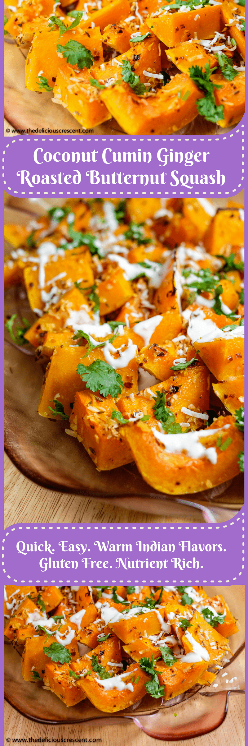 Coconut Cumin Ginger Roasted Butternut Squash – super easy, quick, scrumptious, gluten free, perfectly tender, packed in Indian flavors and rich in nutrients! A delicious and spicy way to warm up this winter!