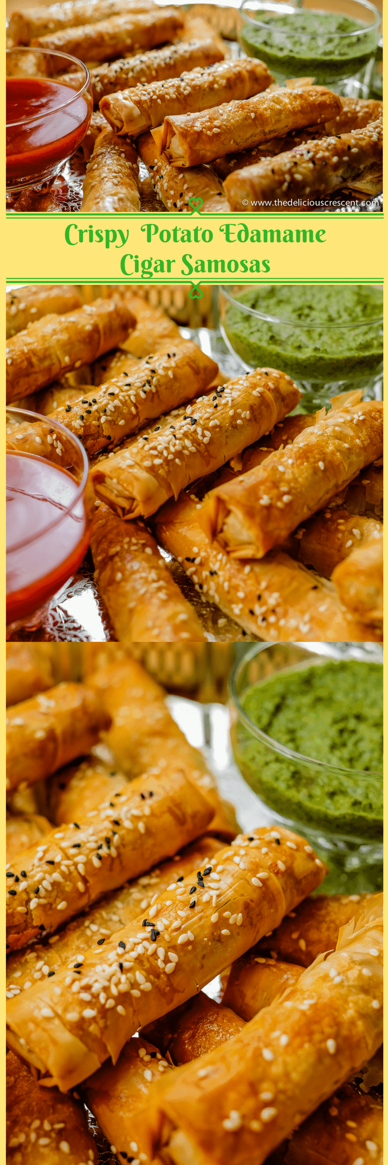 Collage of pictures of Crispy Potato Edamame Cigar Samosas - an easier and lighter baked version of a popular Indian snack.