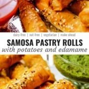 Different views of samosa pastry rolls with a potato and edamame filling served with a green herb chutney.