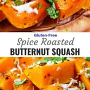 Different views of spice roasted butternut squash drizzled with a yogurt sauce, herbs and arranged on a plate.