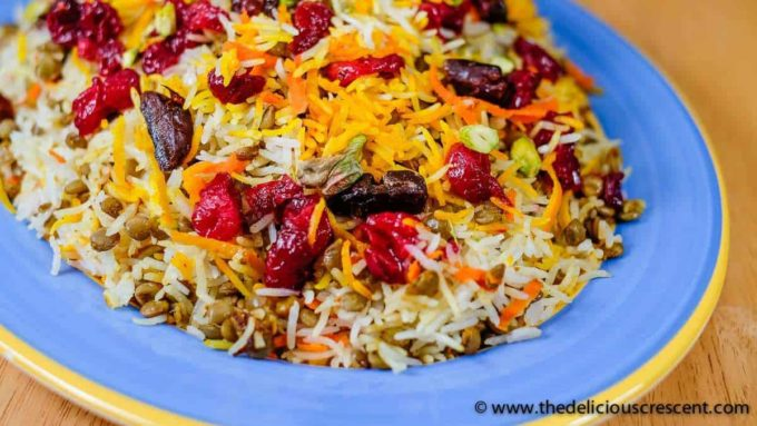 Close up shot of Persian style lentils and rice.