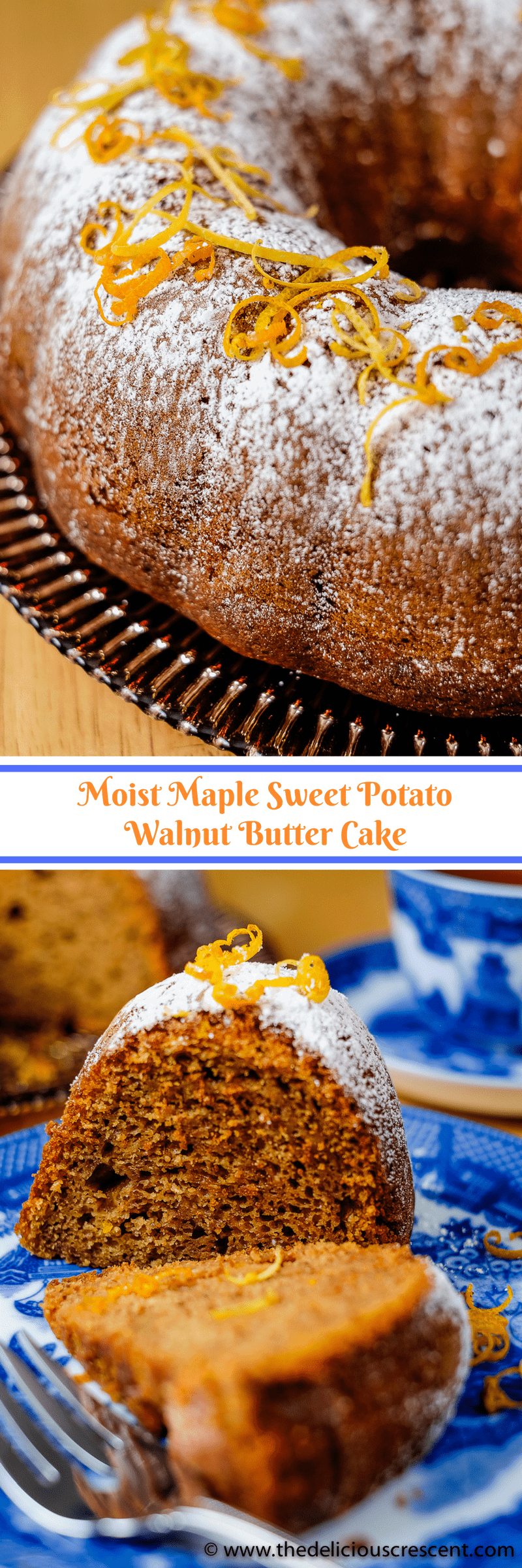 Moist Maple Sweet Potato Walnut Butter Cake is a healthier cake that is delicious, sweet and so moist. It is baked with walnut butter and maple syrup and packed with flavor and nutrients. | Sweet Potato Cake | Maple Cake | Walnut Butter Cake | Maple Walnut | Bundt Cake | #desserts #baking #vegetarian #cakes #easyrecipe