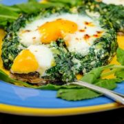 Spinach Egg Stuffed Portobello Mushrooms Pin Image