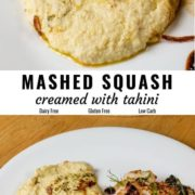 Different views of mashed yellow squash creamed with tahini and served on a white plate.