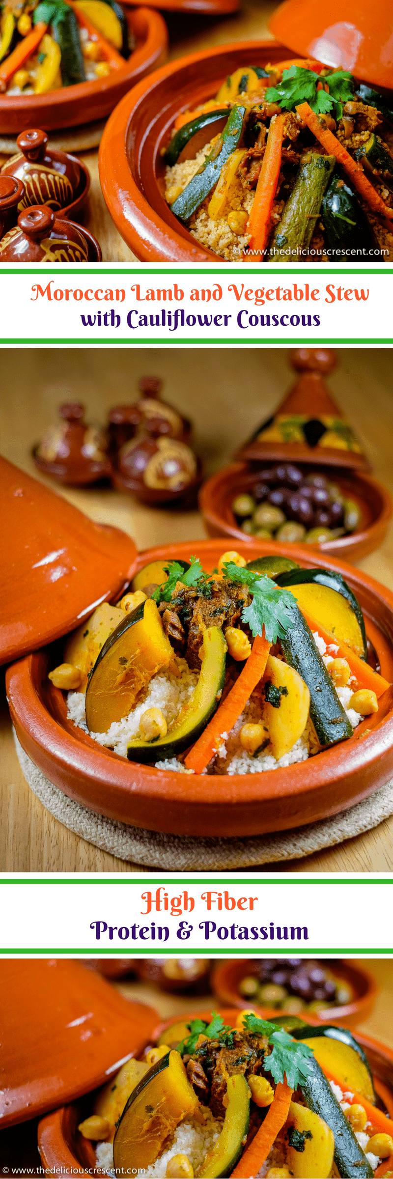 Moroccan Lamb and Vegetable Stew with Cauliflower Couscous is a flavorful, comforting, complete meal, full of herbs and spices. Loaded with protein, fiber and potassium.