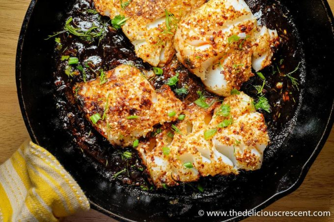 Spicy Seared Fish with Tamarind Sauce is a spicy, crusty, flaky, tangy, saucy, easy recipe that is low in calories and carbs, high in protein and healthy fats!