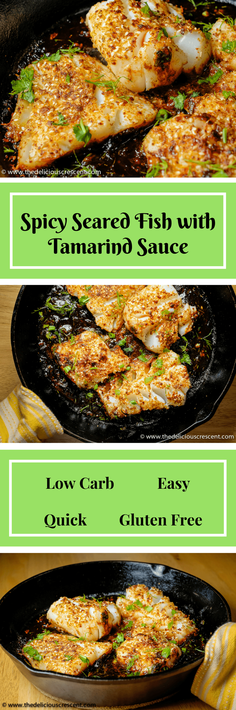 Pan Seared Fish with Tamarind Sauce, a tasty flaky fish with a spicy crust in a tangy sauce. Low in calories and carbs, high in protein and healthy fats!