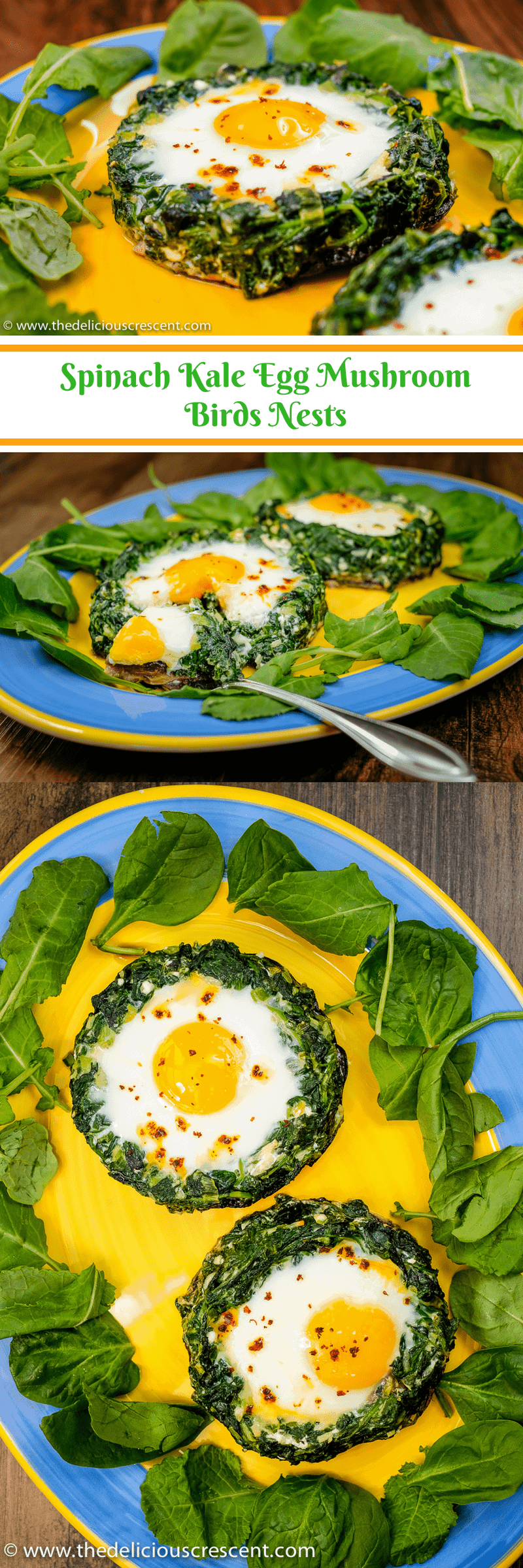 Spinach Kale Egg Mushroom Birds Nests – a nourishing, filling, low carb, super tasty egg and veggie dish loaded with protein, fiber, potassium.