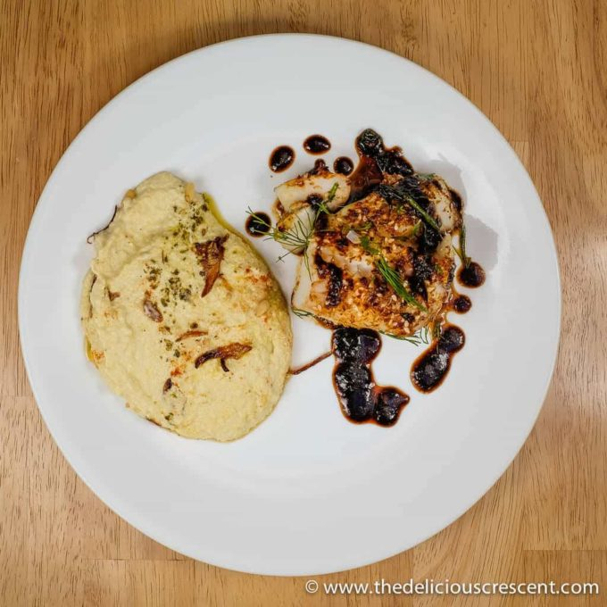 Tahini Creamed Yellow Squash with Caramelized Shallots - flavor & nutrient packed alternative to mashed potatoes - lower in carbs, high fiber, healthy fats.
