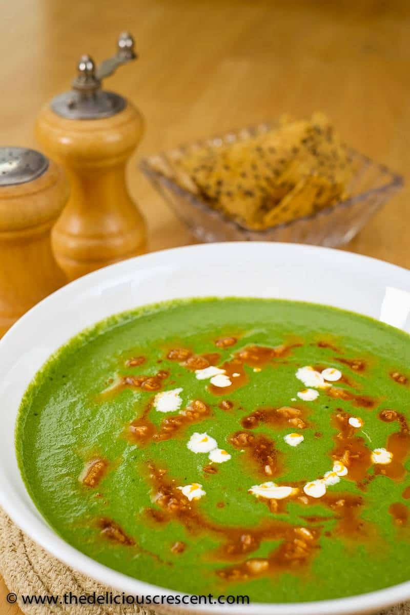 Creamy Mustard Greens and Spinach Soup
