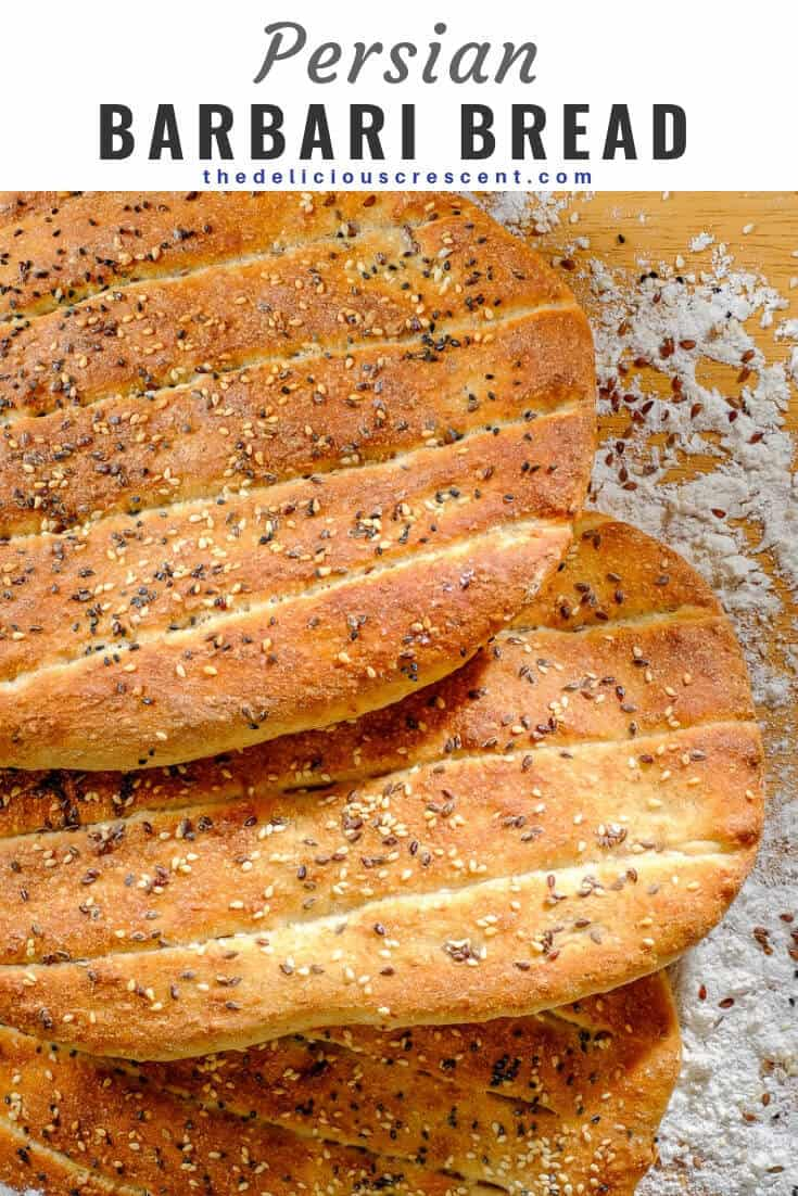 Barbari Bread is a classic Persian flatbread that is a must try for those who love baking bread. Crusty outside, tender inside and super tasty! Also known as Nan-e Barbari or Noon Barbari, this is a popular breakfast bread in Iran. It is freezer friendly and vegan. The recipe also includes tips for making it healthier. #breadrecipe #Persian #middleeasternfood