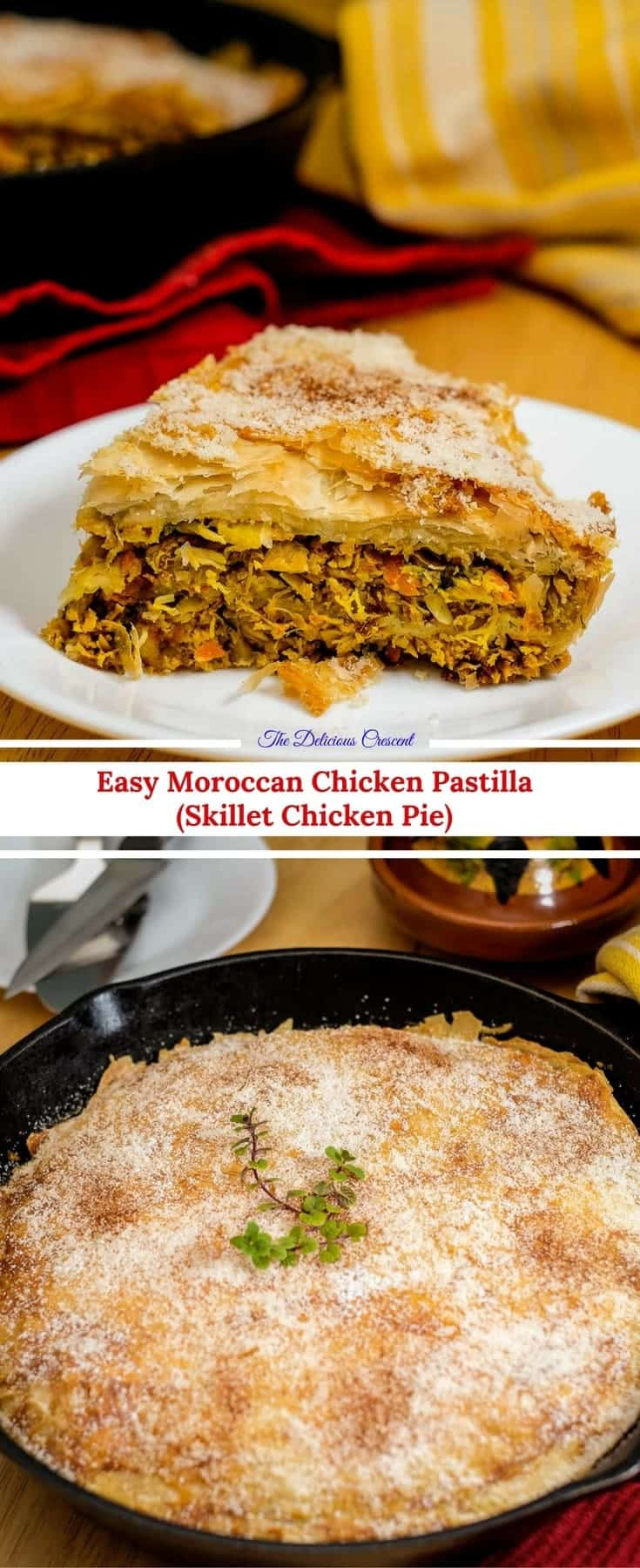 Chicken Pastilla, a scrumptious protein rich Moroccan delicacy, made easy in a skillet. Tender shredded chicken with aromatic spices wrapped in perfectly crisp pastry layers.