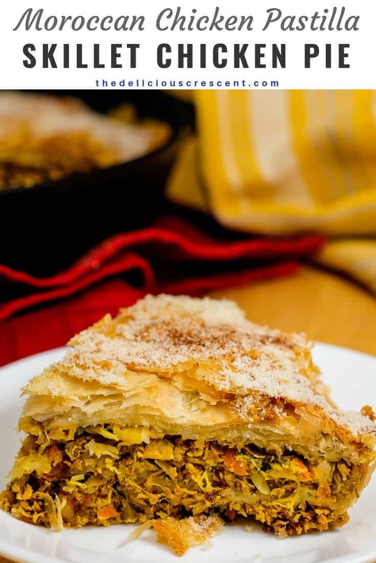 Moroccan chicken pastilla is a delicious savory pastry made with tender shredded chicken flavored with aromatic spices and wrapped in flaky filo dough layers. This bastilla recipe comes together so easily baked in a cast iron skillet and looks marvelous. Great for a weeknight dinner or for entertaining. Try this skillet chicken pie for a meal or appetizer. #Moroccanfood #chickenpie