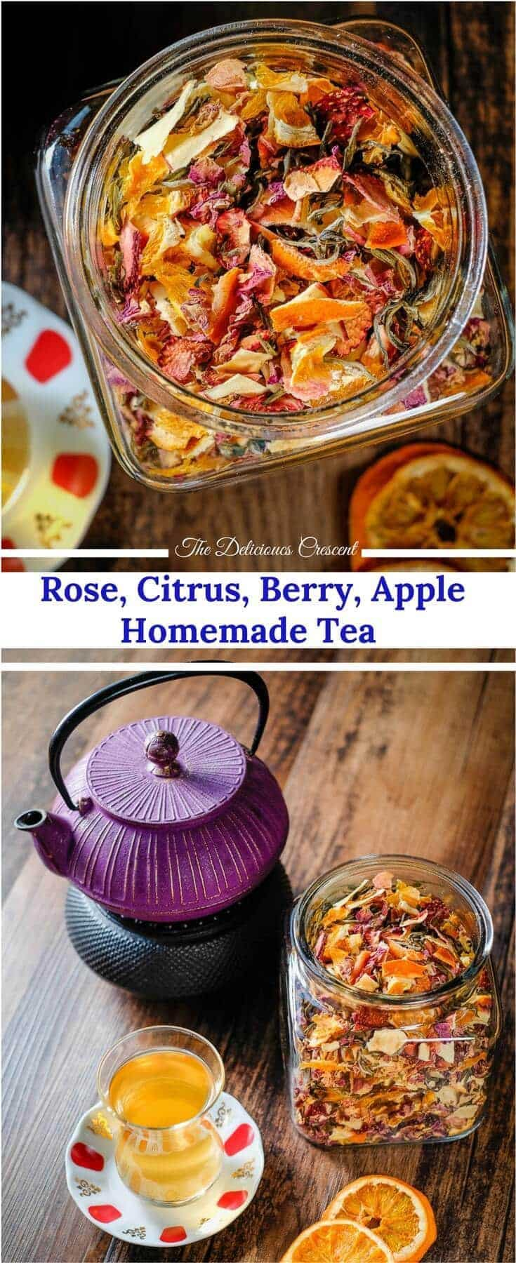 Homemade tea blend with citrus, berries, apples, roses and white tea is an invigorating infusion of sweet fruity flavors and the lively taste of antioxidant rich white tea.