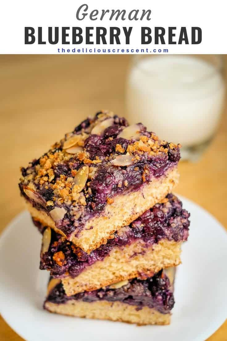 German Blueberry bread is the best breakfast bread ever. Sweet and juicy blueberries with a streusel topping and toasted almonds on a soft cake like yeast bread. Two recipes - classic and healthier. Healthy version with less sugar, less saturated fat, extra fiber and more goodness. This German blueberry cake with crumb topping is good for dessert too and is freezer friendly. #healthybreakfast #blueberries