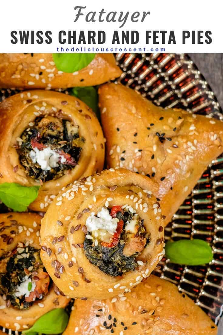 Fatayer with swiss chard and feta cheese filling are delicious savory hand pies. These healthy vegetarian middle eastern pastries are great for a quick lunch, handy snack or appetizer. They are make ahead and freezer friendly. Check out the health benefits of swiss chard and try this recipe for your family, entertaining or even the holidays. #mediterraneandiet #Lebanesefood