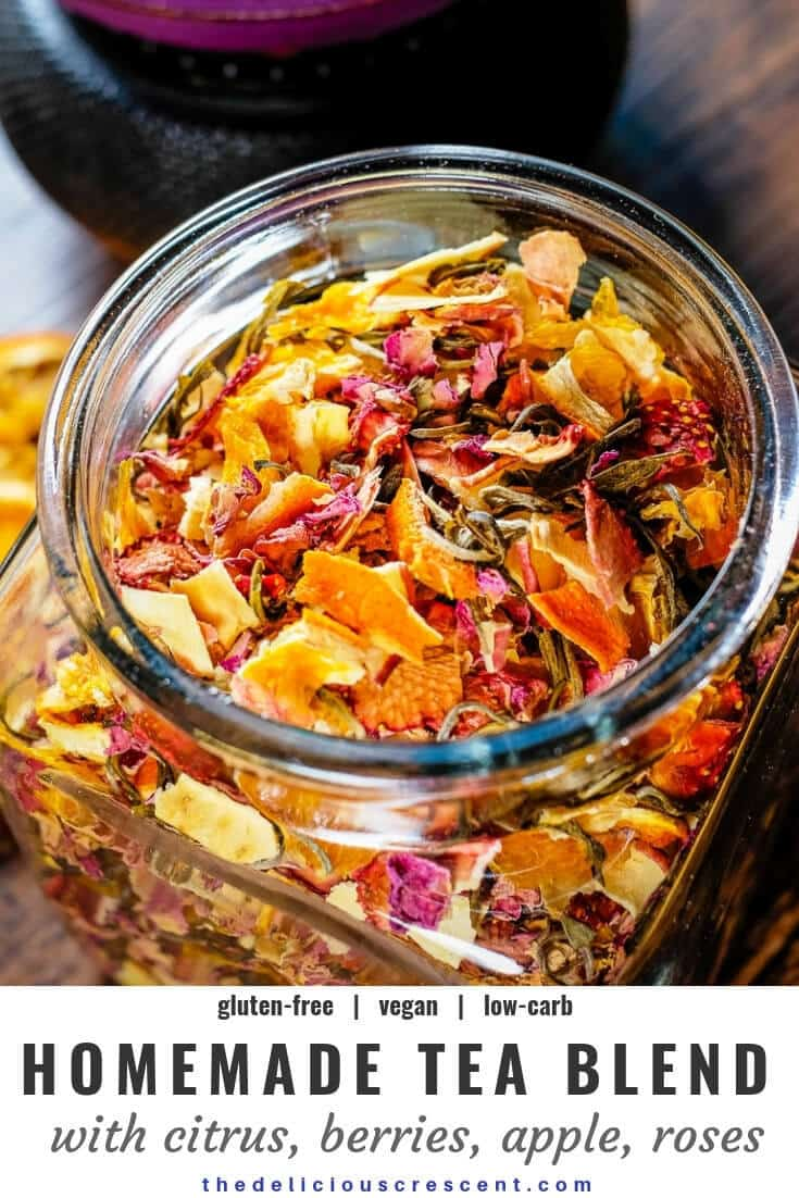 Homemade tea blend with citrus, berries, apples, roses and white tea is an invigorating infusion of sweet fruit flavors and the lively taste of antioxidant rich white tea. It is a quick and easy to make gluten free tea beverage. This healthy tea blend recipe is suitable for vegan, vegetarian and low carb diets. #homemade #tea