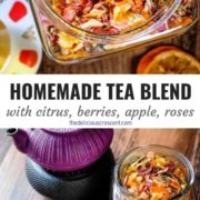 Collage of pictures of homemade tea blend and the tea infusion with a tea kettle.