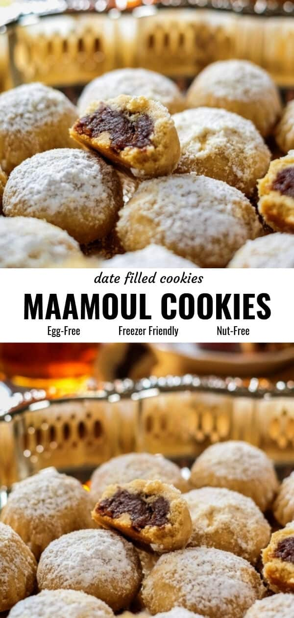 Different views of maamoul (date filled cookies) arranged on a serving platter and served with two cups of tea.