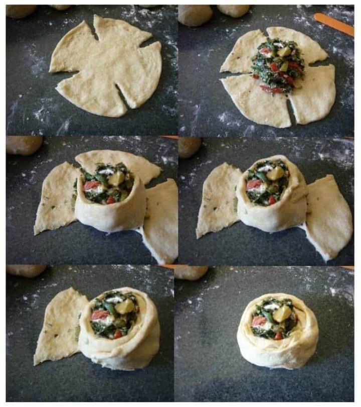 Making the Fatayer (Swiss chard pies) in a circular form