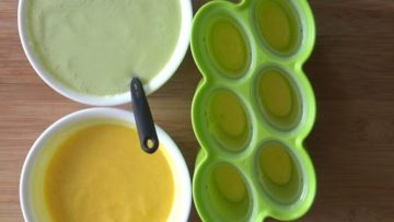 Layering of cantaloupe with honeydew melon for making the melon popsicles
