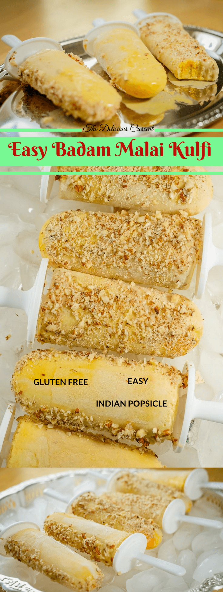 Badam malai kulfi, a traditional Indian popsicle, amazingly easy recipe, with mouth watering creamy taste, fragrant flavors of almond, rose, saffron. With less added sugar and saturated fat but more protein. #kulfi #popsicle #glutenfree #dessert #Indianfood