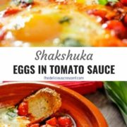 Different views of Moroccan eggs (shakshuka) poached in a tomato sauce in a tagine.