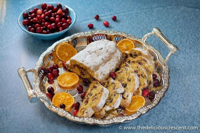 Cranberry Orange Quark Stollen served on a platter