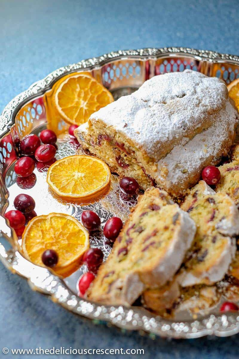 Slices of Cranberry Orange Quark Stollen with dried orange and cranberries