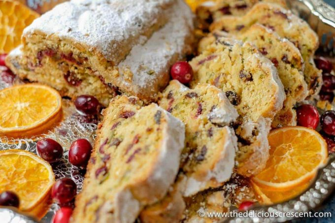 Close up shot of Cranberry Orange Quark Stollen