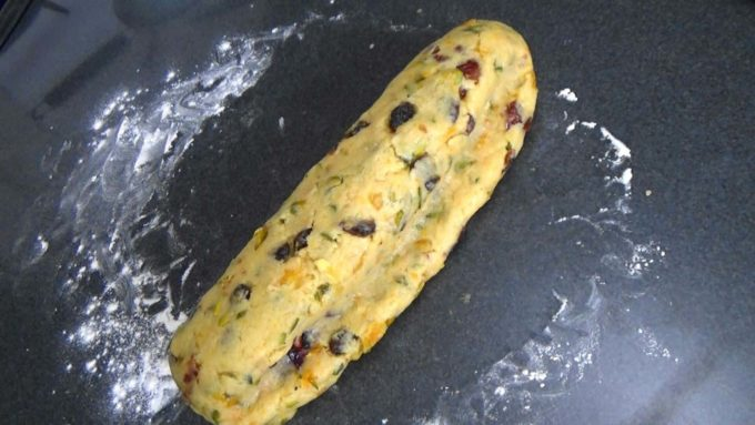 Shaping the Cranberry Orange Quark Stollen