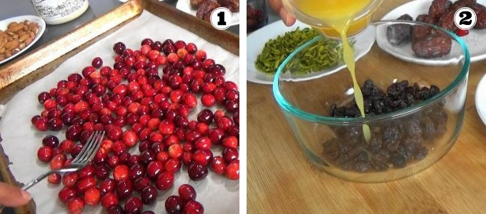 Making sweetened cranberries and soaking raisins in orange juice for quark stollen.