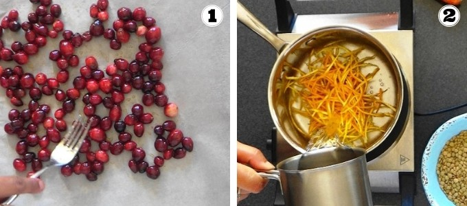 Preparing cranberries and orange rind for making lentil rice with cranberries.