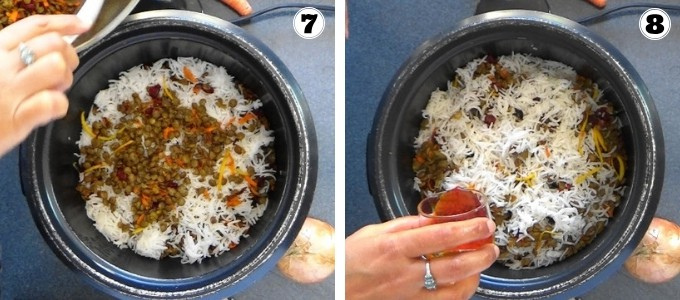 Layering rice and lentils and adding a drizzle of saffron water to make Persian style lentil rice with cranberries.